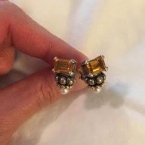 Lagos Caviar Smoky Topaz earrings